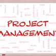 Foto Stock: Project Management Word Cloud Concept on Whiteboard