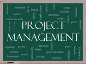 Project Management Word Cloud Concept on a Blackboard — Photo