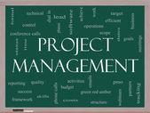 Proje yönetimi word bulut kavramı üzerine bir yazı tahtası — Stok fotoğraf