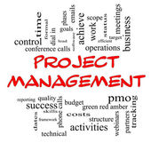 Project Management Word Cloud Concept in Red Caps — Zdjęcie stockowe
