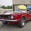 Постер, плакат: Red and White 1968 Chevy Camaro 327