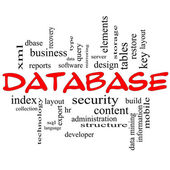 Database Word Cloud Concept in Red Caps — Stock Photo
