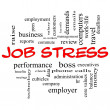 Foto de Stock  : Job Stress Word Cloud Concept in Red Caps