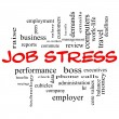 Zdjęcie stockowe: Job Stress Word Cloud Concept in Red Caps