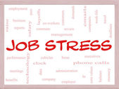 Job Stress Word Cloud Concept on a Whiteboard — Photo
