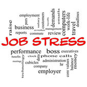 Job Stress Word Cloud Concept in Red Caps — Photo