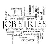 Job Stress Word Cloud Concept in black and white — Stock Photo