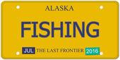 Fishing Alaska License Plate — Stock Photo