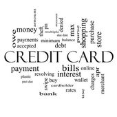 Credit Card Word Cloud Concept in black and white — Stock Photo