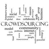 Crowdsourcing slovo mrak koncepce v černé a bílé — Stock fotografie