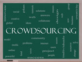 Crowdsourcing Word Cloud Concept on a Blackboard — Stock Photo