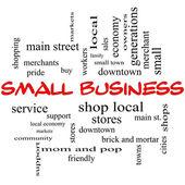 Küçük işletme kelime bulutu kavramı kırmızı kapaklar — Stok fotoğraf
