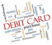 Debit Card Word Cloud Concept Slanted — Stock Photo