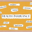 Health Insurance Corkboard Word Concept — Stock Photo