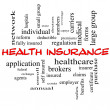 Health Insurance Word Cloud Concept in red caps — Stock Photo #38038877