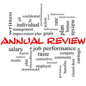 Annual Review Word Cloud Concept in red caps — Stock Photo