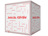 Annual Review Word Cloud Concept on a 3D cube Whiteboard — Stock Photo