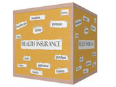Health Insurance on a 3D Cube Corkboard Word Concept — Stock Photo