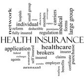 Health Insurance Word Cloud Concept in black and white — Stock Photo