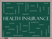 Health Insurance Word Cloud Concept on a Blackboard — Stock Photo