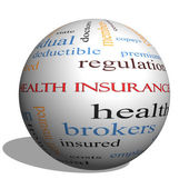 Health Insurance Word Cloud Concept on a 3D Sphere — Stock Photo