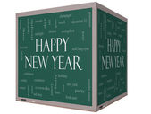 Happy New Year Word Cloud Concept on a 3D Cube Blackboard — Stock Photo