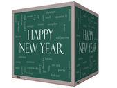 Gelukkig Nieuwjaar woord wolk concept op een 3d-kubus schoolbord — Stockfoto