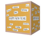 Happy New Year 3D Cube Corkboard Word Concept — Stock Photo