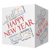 Happy New Year 3D Cube Word Cloud Concept — Stock Photo