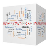Home Ownership 3D Cube Word Cloud Concept on a Blackboard — Stock Photo