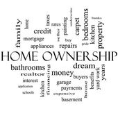 Home Ownership Word Cloud Concept in black and white — Stock Photo