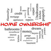 Home Ownership Word Cloud Concept in red caps — Stock Photo