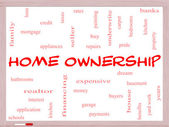 Home Ownership Word Cloud Concept on a Whiteboard — Stock Photo