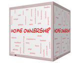Home Ownership Word Cloud Concept on a 3D Cube Whiteboard — Stock Photo