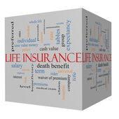 Life Insurance Word Cloud Concept on a 3D Cube — Stock Photo