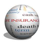Life Insurance Word Cloud Concept on a 3D Sphere — Stock Photo