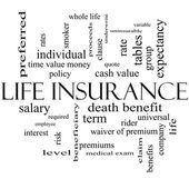 Life Insurance Word Cloud Concept in black and white — Stock Photo