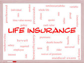 Life Insurance Word Cloud Concept on a Whiteboard — Stock Photo