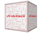 Life Insurance Word Cloud Concept on a 3D Cube Whiteboard — Stock Photo