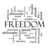 Freedom Word Cloud Concept in black and white — Stock Photo