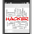 Hacker Word Cloud Concept on Touchscreen Phone — Stock Photo