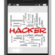 Hacker Word Cloud Concept on Touchscreen Phone — Stock Photo #38126047