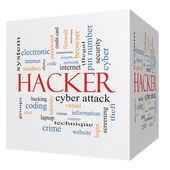 Haker 3d sześcian słowo chmura koncepcja — Zdjęcie stockowe
