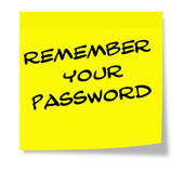 Remember Your Password written on yellow sticky note — Stockfoto