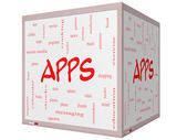 Apps Word Cloud Concept on a 3D Cube Whiteboard — Stock Photo