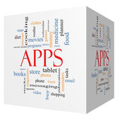 Apps 3D Cube Word Cloud Concept — Stock Photo