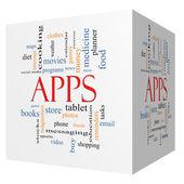 Apps 3d küp kelime bulutu kavramı — Stok fotoğraf