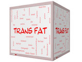 Trans Fat Word Cloud Concept on a 3D Cube Whiteboard — Stock Photo