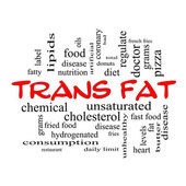 Trans Fat Word Cloud Concept in red caps — Stock Photo