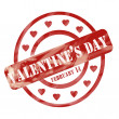 Foto de Stock  : Red Weathered Valentine's Day Stamp Circles and Hearts